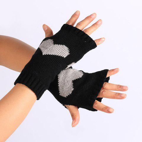 Outfit Pair of Heart Knitted Fingerless Gloves - BLACK  Mobile