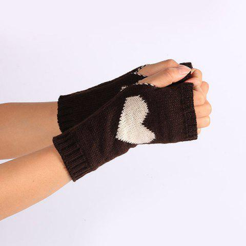 Outfit Pair of Heart Knitted Fingerless Gloves - COFFEE  Mobile