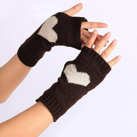 Shops Pair of Heart Knitted Fingerless Gloves - COFFEE  Mobile