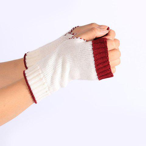 Unique Double Color Knitted Fingerless Gloves - WHITE  Mobile