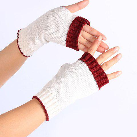 Outfits Double Color Knitted Fingerless Gloves - WHITE  Mobile