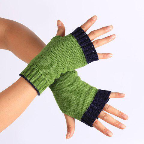 Best Double Color Knitted Fingerless Gloves PURPLISH BLUE