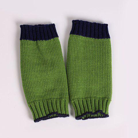 Chic Double Color Knitted Fingerless Gloves - PURPLISH BLUE  Mobile
