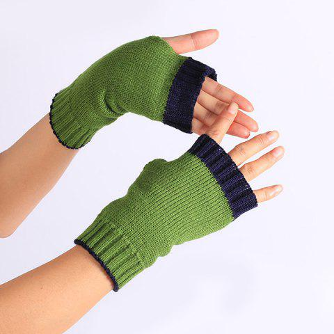 Cheap Double Color Knitted Fingerless Gloves - PURPLISH BLUE  Mobile