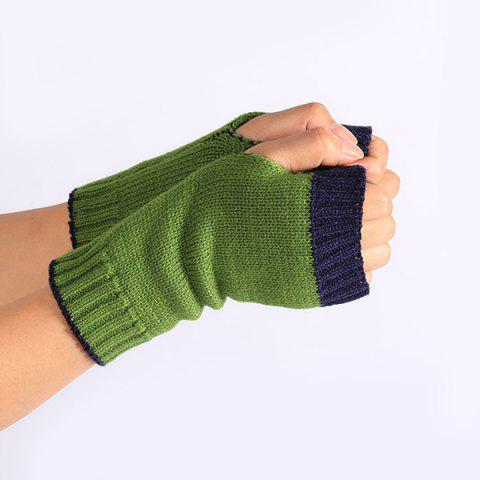 Sale Double Color Knitted Fingerless Gloves - PURPLISH BLUE  Mobile