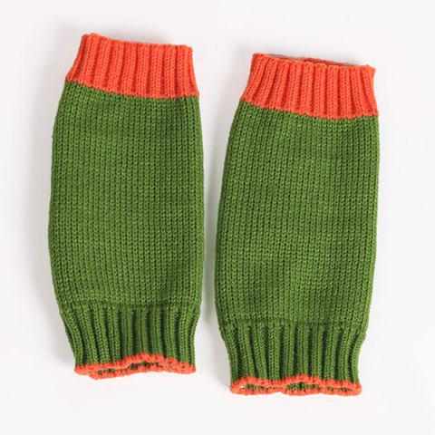 Discount Double Color Knitted Fingerless Gloves - GREEN  Mobile