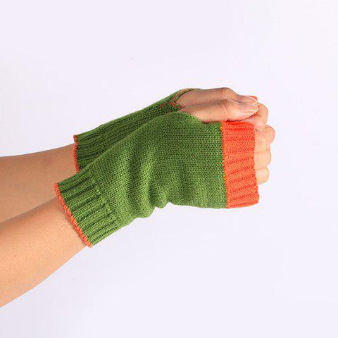 Chic Double Color Knitted Fingerless Gloves - GREEN  Mobile