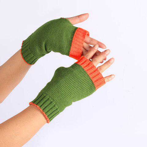 Sale Double Color Knitted Fingerless Gloves - GREEN  Mobile