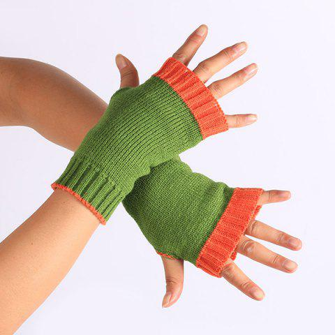 Cheap Double Color Knitted Fingerless Gloves GREEN