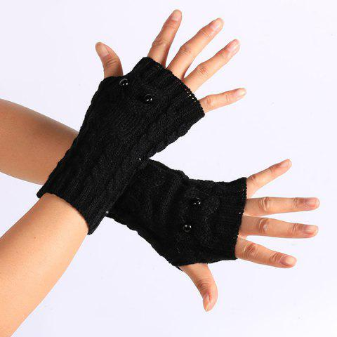 Discount Twist Knitted Owl Fingerless Gloves - BLACK  Mobile
