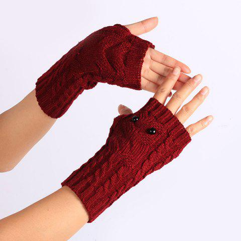 Unique Twist Knitted Owl Fingerless Gloves - WINE RED  Mobile