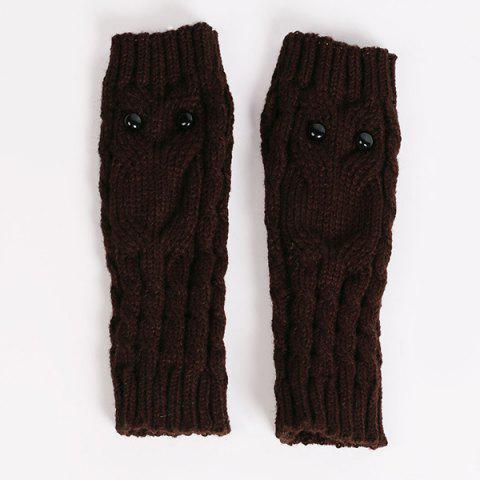 Sale Twist Knitted Owl Fingerless Gloves - COFFEE  Mobile