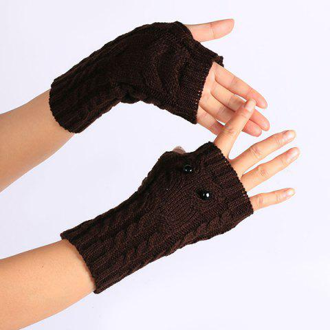 Best Twist Knitted Owl Fingerless Gloves - COFFEE  Mobile