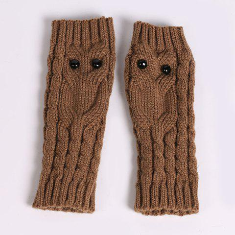 Fancy Twist Knitted Owl Fingerless Gloves - KHAKI  Mobile