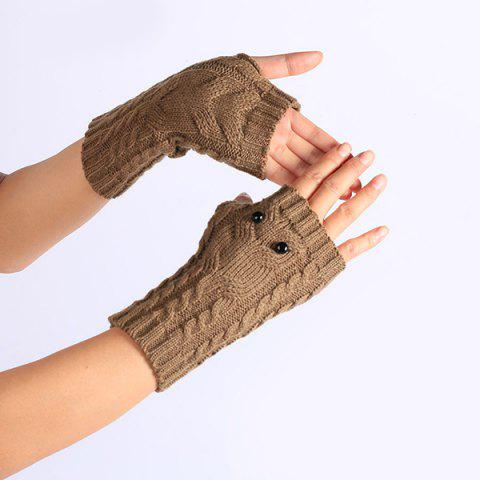 Shops Twist Knitted Owl Fingerless Gloves - KHAKI  Mobile