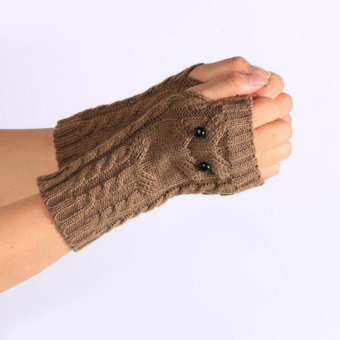 Sale Twist Knitted Owl Fingerless Gloves - KHAKI  Mobile