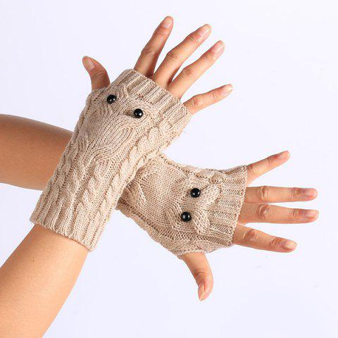 Shops Twist Knitted Owl Fingerless Gloves - BEIGE  Mobile