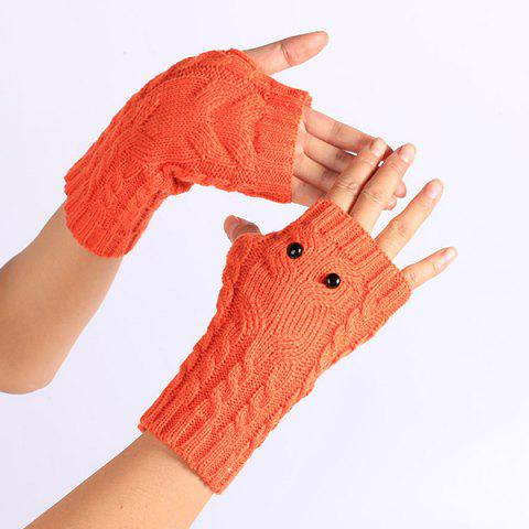Fancy Twist Knitted Owl Fingerless Gloves - JACINTH  Mobile