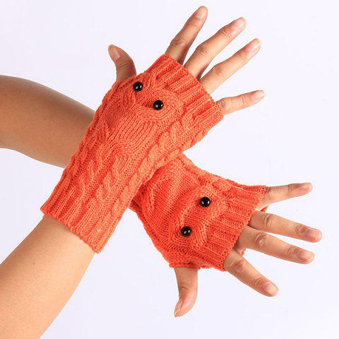 Sale Twist Knitted Owl Fingerless Gloves - JACINTH  Mobile