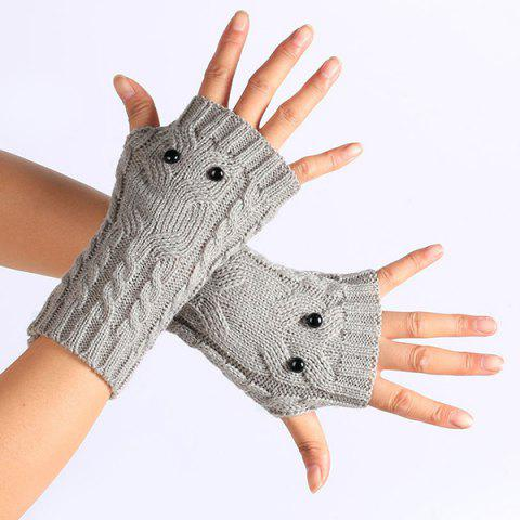 Fancy Twist Knitted Owl Fingerless Gloves - LIGHT GRAY  Mobile