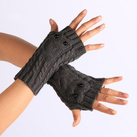 Twist Knitted Owl Fingerless Gloves - Deep Gray