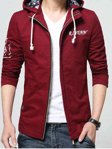 New Stand Collar Detachable Hooded Zip-Up Jacket WINE RED M