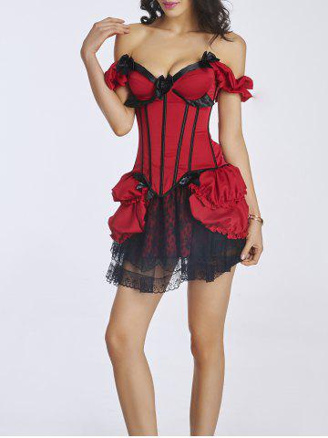 Chic Bowknot Design Corset + Lace Mini Skirt Twinset
