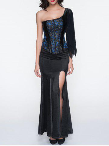 One Shoulder Corset With High Slit Maxi Skirt - Blue - L