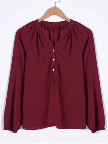 Outfits V Neck Long Sleeve Shirt WINE RED M