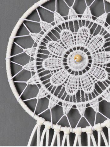 Sale Circular Net Lace Feathers Dreamcatcher Multipurpose Keyring - WHITE  Mobile