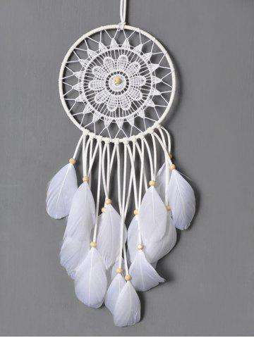 Cheap Circular Net Lace Feathers Dreamcatcher Multipurpose Keyring - WHITE  Mobile