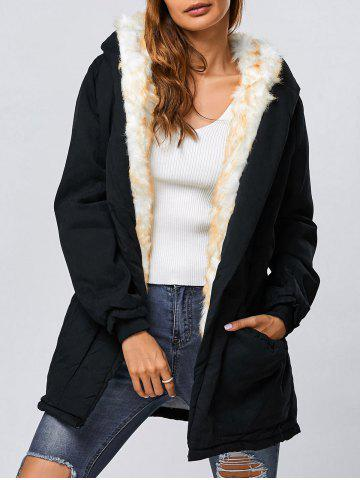 Outfit Double Pocket Parka Long Winter Padded Coat Jacket with Hood