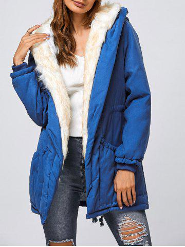 Double Pocket Parka Long Winter Padded Coat Jacket with Hood - Blue - M