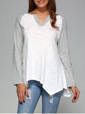 Hot Raglan Sleeve Asymmetrical T-Shirt GREY AND WHITE 2XL