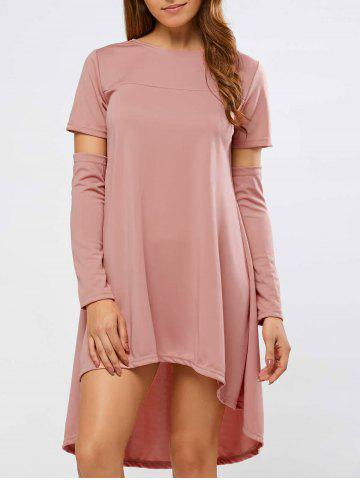 Buy Long Sleeve High Low Loose Dress PINK XL