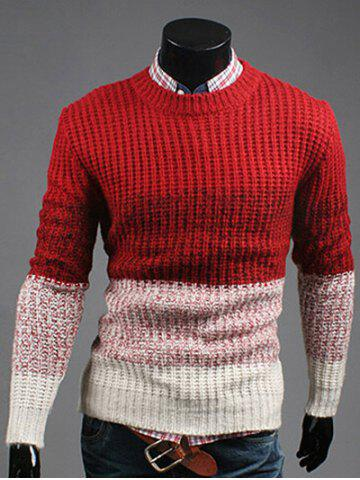 New Contrast Color Striped Crew Neck Texture Sweater RED XL