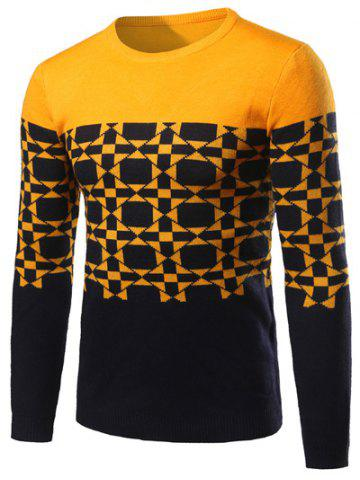 New Geometric Pattern Contrast Color Crew Neck Sweater YELLOW 2XL