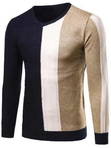 Outfits V-Neck Rib Cuff Color Matching Pullover Sweater CADETBLUE 2XL
