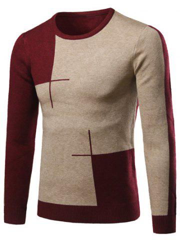 Latest Color Matching Long Sleeve Crew Neck Sweater WINE RED 2XL