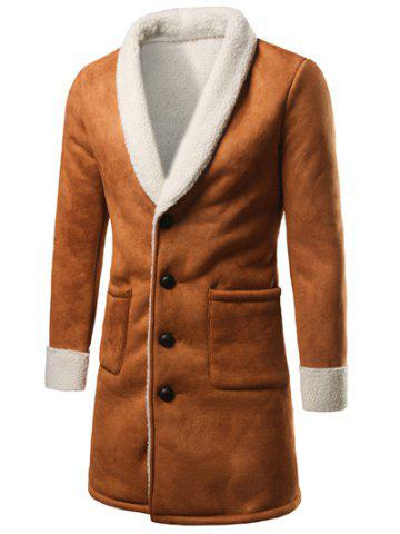 Cheap Shawl Collar Patch Pocket Plush Lining Longline Coat KHAKI 2XL