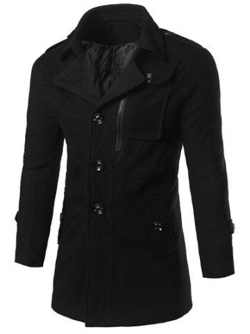 New Epaulet Design Zippered Single Breasted Coat BLACK XL