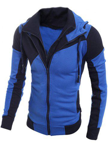 Drawstring Contraste Paneled Double Zip Hoodie Bleu 2XL
