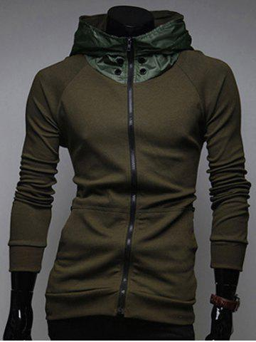 Latest Zip Up Kangaroo Pocket Raglan Sleeve Hoodie