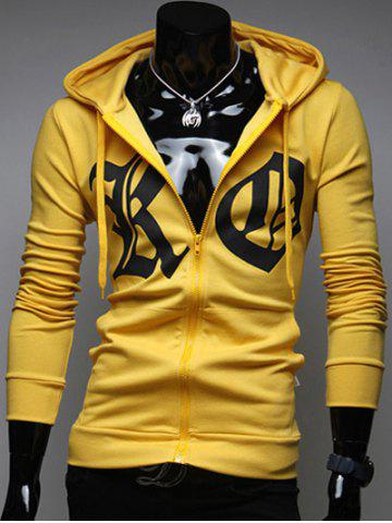 Trendy Pocket Front Zip Up Drawstring Graphic Hoodie