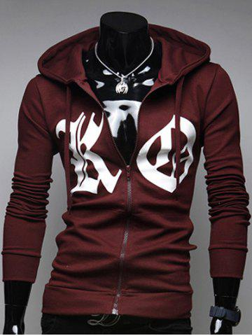 Pocket Front Zip Up Drawstring Graphic Hoodie - Wine Red - L