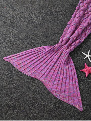 Latest Soft Fish Scale Design Antipilling Sleeping Bag Wrap Mermaid Blanket - ROSE RED  Mobile