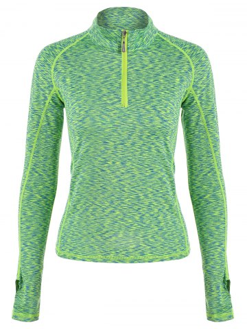 Unique Half-zip Heathered Topstitched Long Sleeve Gym Top