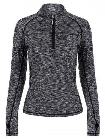 Sale Half-zip Heathered Topstitched Long Sleeve Gym Top GRAY M
