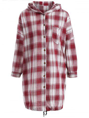 Sale Hooded Drawstring Buttoned Plaid Blouse DEEP RED ONE SIZE