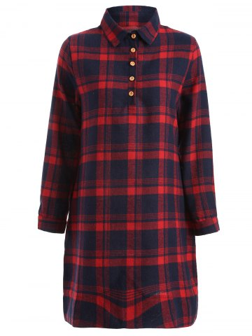 Affordable Long Sleeve Plaid Shift Casual Dress RED 2XL
